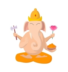 Ganesha icon cartoon style vector
