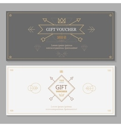 Gift voucher template with hipster design line vector