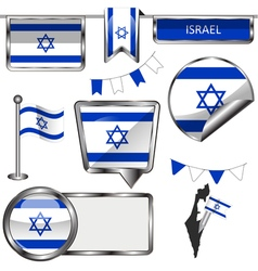 Glossy icons with Israeli flag vector image vector image