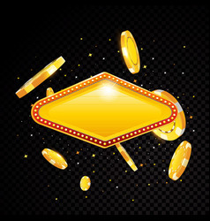 golden casino vegas sign with poker chips vector image vector image