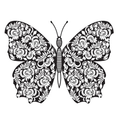 Hand drawn butterfly Black and white vector image vector image