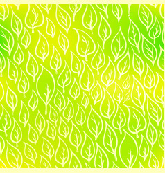 Hand-drawn leaves on green eco seamless pattern vector