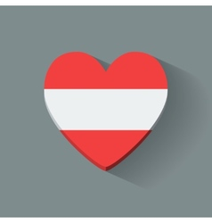 Heart-shaped icon with flag of austria vector