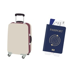 Luggage and passport vector image vector image