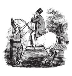 Man on horse vintage vector