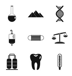 Medicament icons set simple style vector