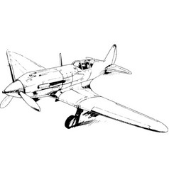 military fighter jet drawn in ink by hand vector image