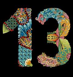number thirteen zentangle on a black background vector image
