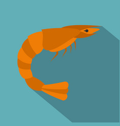 orange shrimp icon flat style vector image