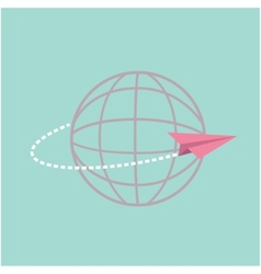 Origami paper plane flying around the world globe vector