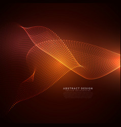 Particles wave background with orange lights vector