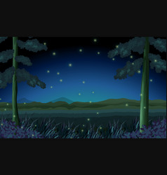 scene with fireflies in forest at night vector image vector image