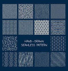 Set of hand drawn marker and ink patterns vector