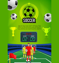Soccer match sport game banner with football field vector