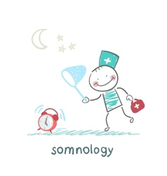 Somnology catches hours vector