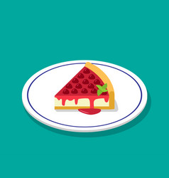 strawberry cheese cake in 3d cartoon style vector image vector image