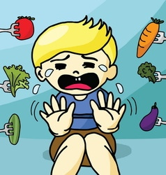 The boy does not like healthy food vector image