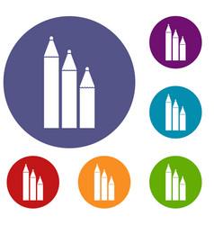 Three pencils icons set vector