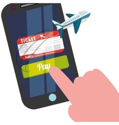 Travel smartphone ticket pay buy plane vector