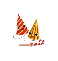 Two paper party hats and horn kids birthday party vector