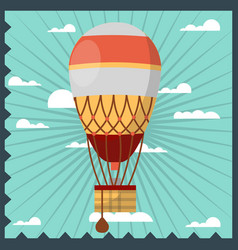 Vintage aerostat in the sky vector