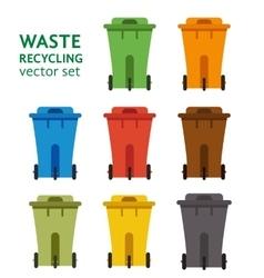 Waste sorting garbage bin set vector
