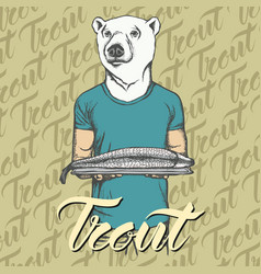White bear with fresh fish vector