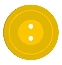 Yellow sewing button icon isolated vector