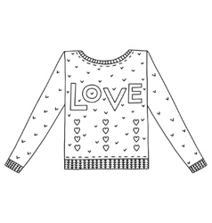 Cute cozy sweater with hearts and love vector