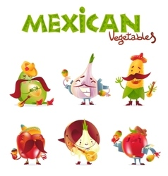 Mexican vegetable characters playing musical vector