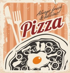 Retro pizzeria poster on old paper texture vector