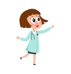 comic woman doctor character wearing medical coat vector image