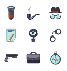 detective equipment icons set cartoon style vector image