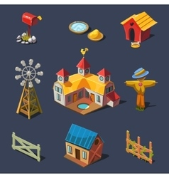 Farm big set of design elements in modern flat vector