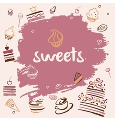 Banner hand-drawn sweets vector