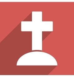 Grave flat long shadow square icon vector