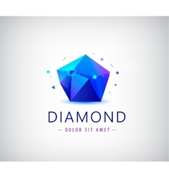 Trendy flat design facet crystal gem shape logo vector