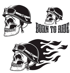 Skull in motorcycle helmet with fire born to ride vector