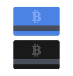 Bitcoin credit card set flat style icons vector