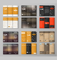 Set triple folding coffee menu vector