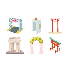 Arch icon set cartoon style vector