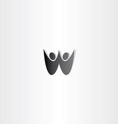 black people letter w logo sign vector image
