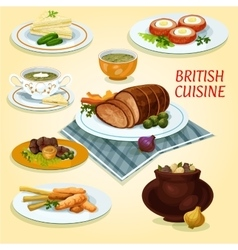 British cuisine traditional dishes for lunch icon vector