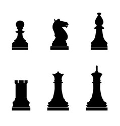 Chess pieces the black color icon vector
