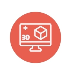 Computer monitor with 3d box thin line icon vector