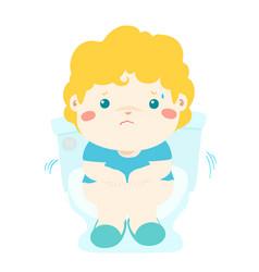 cute boy sitting toilet seat with diarrhea cartoon vector image