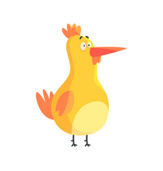 cute yellow funny chicken standing colorful vector image vector image