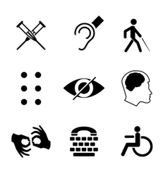 disabled signs with deaf dumb mute blind vector image vector image