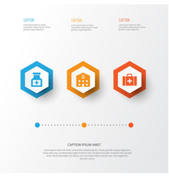 Drug icons set collection of drug chest retreat vector