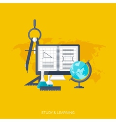 Flat concept education background Back to school vector image